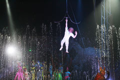 Flying sailor. A flaying sailor in a exibition of a funny water circus at naples in italy Stock Image