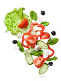 Flying salad isolated in white Stock Photos