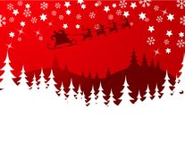 Flying Santa. Silhouette Illustration of Flying Santa and Christmas Reindeer royalty free illustration