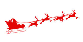 Flying Santa And Christmas Reindeer Royalty Free Stock Image