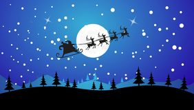 Flying Santa and Christmas Reindeer. Silhouette Illustration of Flying Santa and Christmas Reindeer Royalty Free Stock Photos