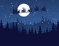 Flying Santa and Christmas Reindeer. Silhouette Illustration of Flying Santa and Christmas Reindeer Stock Image