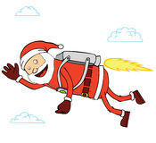 Flying Santa Claus. Illustration of Santa Claus flying by using turbo machine Royalty Free Stock Photography