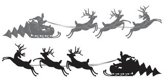 Flying Santa Claus in a reindeer sleigh. Black vector silhouette, Flying Santa Claus in a reindeer sleigh Stock Photography