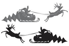 Flying Santa Claus in a reindeer sleigh. Black vector silhouette, Flying Santa Claus in a reindeer sleigh Royalty Free Stock Image