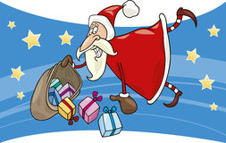 Flying santa with gifts Royalty Free Stock Photos