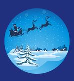 Flying santa sledge Royalty Free Stock Images