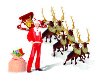 Flying santa sledge with presents. Vector illustration in AI-EPS8 format Royalty Free Stock Photography