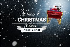 Flying Santa Sleigh and Christmas Message on Snowy Background Design Stock Photography