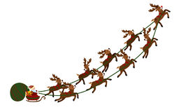 Flying Santa in a sleigh with deer. Christmas illustration of Santa Claus in a cart and a bag of gifts. New Year Stock Image