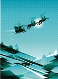 Flying santa sleigh in the sky Stock Photography