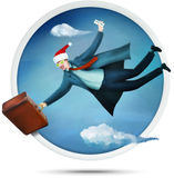 Flying santa tourist. Happy new year vacation tour for a businessman. Illustration Stock Photography