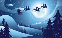 Flying Santa and Winter Forest Royalty Free Stock Images