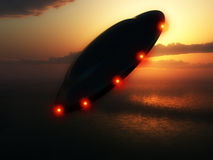 Flying Saucer. A Flying saucer hovering over a ocean Royalty Free Stock Images