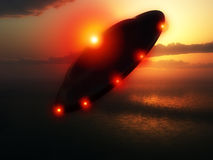 Flying Saucer. A Flying saucer hovering over a ocean Stock Photography