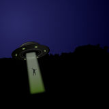 Flying saucer arrived at night,  Royalty Free Stock Image