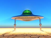 Flying saucer. Landing in the desert Royalty Free Stock Images