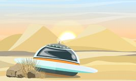 Flying saucer landing in the desert. The collapse of the spacecraft on Earth. Space travel. Sahara Desert. The arrival of aliens on Earth. Realistic Vector royalty free illustration