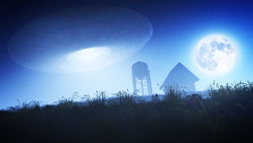 Flying Saucer Over Farm At Night Royalty Free Stock Photo