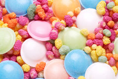 Flying saucer and rainbow drops sweets. Closeup of flying saucer sweets and rainbow drops Royalty Free Stock Image