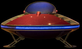Flying saucer. Retro flying saucer spaceship isolated Stock Image
