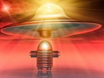 Flying saucer and robot Stock Photography