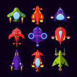 Flying Saucer, Spaceship And UFO Set. Illustration of a set of cartoon funny UFO, unidentified spaceship and spacecrafts from alien invaders, with various Royalty Free Stock Photos