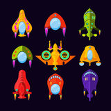 Flying Saucer, Spaceship And UFO Set. Illustration of a set of cartoon funny UFO, unidentified spaceship and spacecrafts from alien invaders, with various Stock Photo
