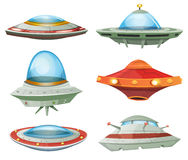 Flying Saucer, Spaceship And UFO Set stock illustration