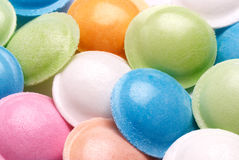 Flying saucer sweets. Closeup of colourful flying saucer sherbet sweets. Rice paper encloses sherbet powder Royalty Free Stock Photos
