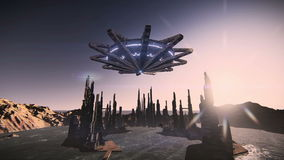 Flying saucer taking off in a futuristic city footage video stock video