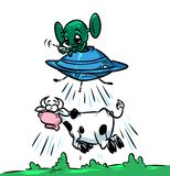 Flying Saucer UFO alien stealing cows cartoon illustration Stock Photos