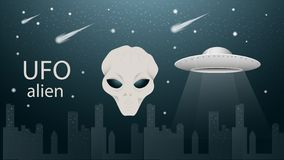 Free Flying Saucer UFO And Alien Face Banner Design Dark Blue Background Illustration Among Night City Starry Sky Royalty Free Stock Photos - 165884368