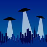 Flying saucers. Alien flying saucers inspecting a city on earth Vector Illustration