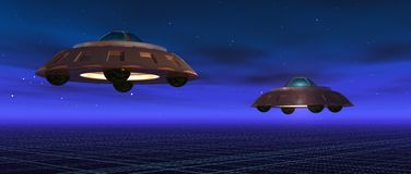 Flying saucers. A 3d render of two flying saucers in a blue night vector illustration