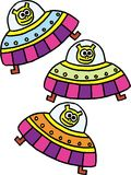 Flying saucers. Three yellow aliens inside a flying saucers on white background. vector image Stock Photo