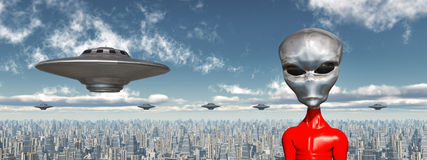 Flying saucers and alien in front of a futuristic city. Computer generated 3D illustration with flying saucers and alien in front of a futuristic city vector illustration