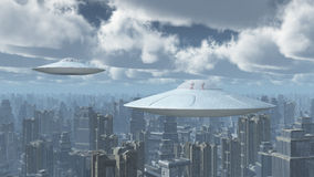 Flying saucers over a big city. Computer generated 3D illustration with flying saucers over a big city royalty free illustration