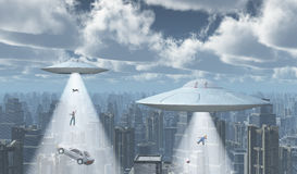 Flying saucers over a big city Stock Photos