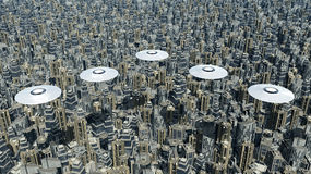 Flying saucers over a megacity Stock Photo