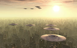 Flying saucers over a megacity Royalty Free Stock Photo