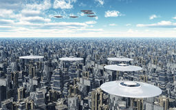 Flying saucers over a megacity. Computer generated 3D illustration with flying saucers over a megacity royalty free illustration