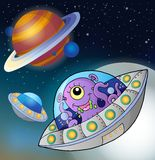 Flying saucers in space Royalty Free Stock Images