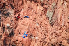 Flying scarlet macaws. Scarlet macaws taking to the air, they live in a giant sink hole to keep eggs safe from predators Stock Photo