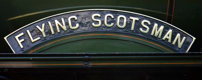 Flying Scotsman. Close up of name plate r royalty free stock images