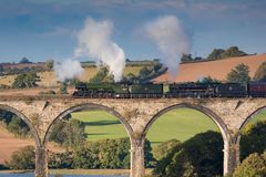The Flying Scotsman crossing St Germans viaduct, Cornwall. St Germans , Cornwall, UK , 6th October 2018, The Flying Scotsman and Ex BR steam locomotive Stanier stock photo