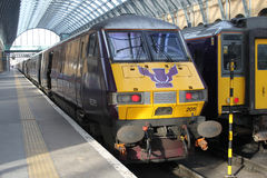 Flying Scotsman logo on end train at Kings Cross Stock Images