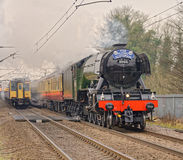 The flying scotsman. Passes through welwyn north Station on February 25, 2016 in hertfordshire, England while a modern train goes in the opposite direction royalty free stock photo