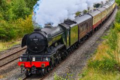 Flying Scotsman steam train. CHESTER, UK - SEPTEMBER 22ND 2018: Flying Scotsman steam train passing through the welsh countryside royalty free stock photography