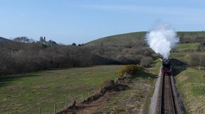 Flying Scotsman and train at Corfe Castle. Flying Scotsman with Corfe Castle in the background steaming through the countryside stock images